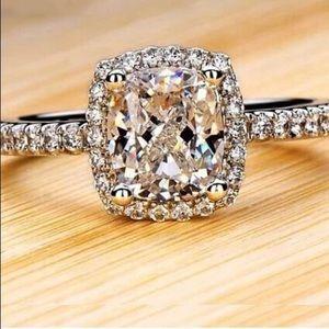 NEW Silver Sparkling Diamond Rectangular Halo Ring